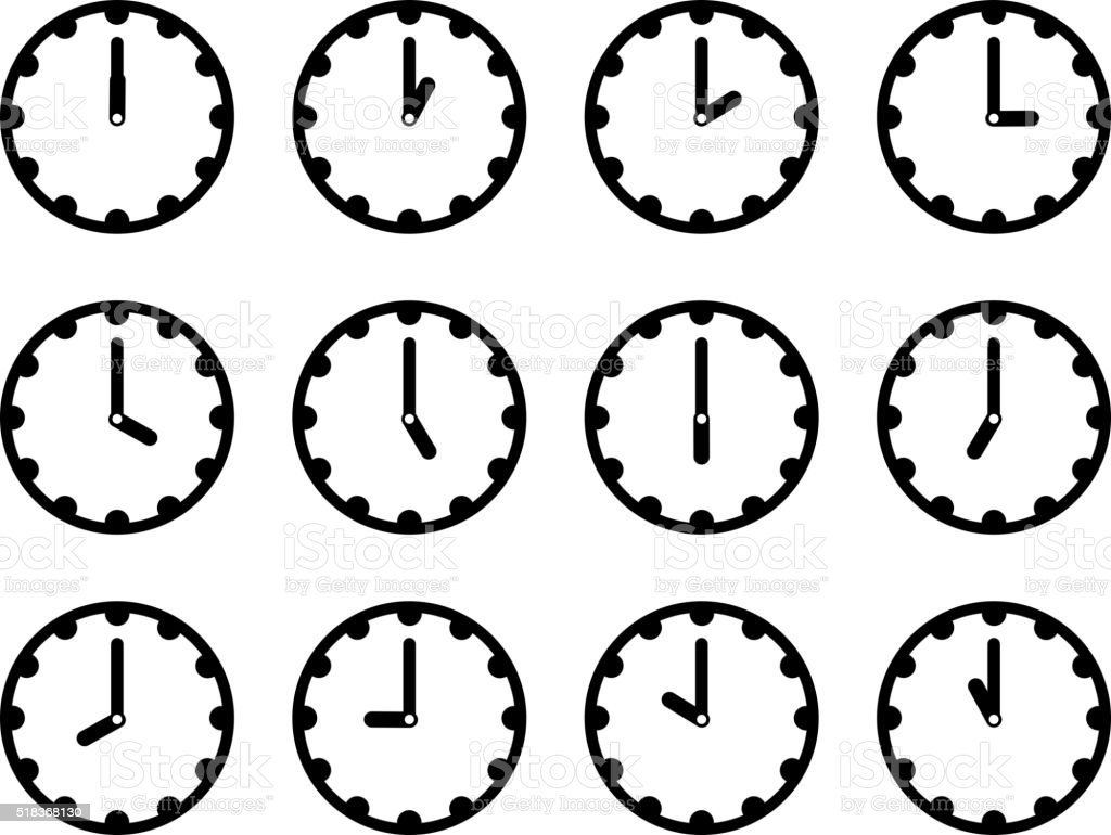 Set of clock faces simple black icons vector art illustration