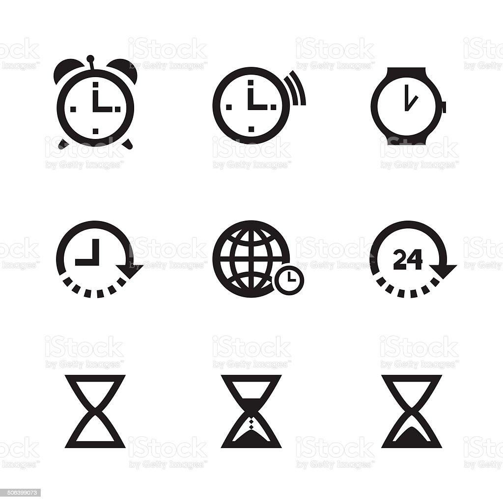 Set Of Clock Icons vector art illustration