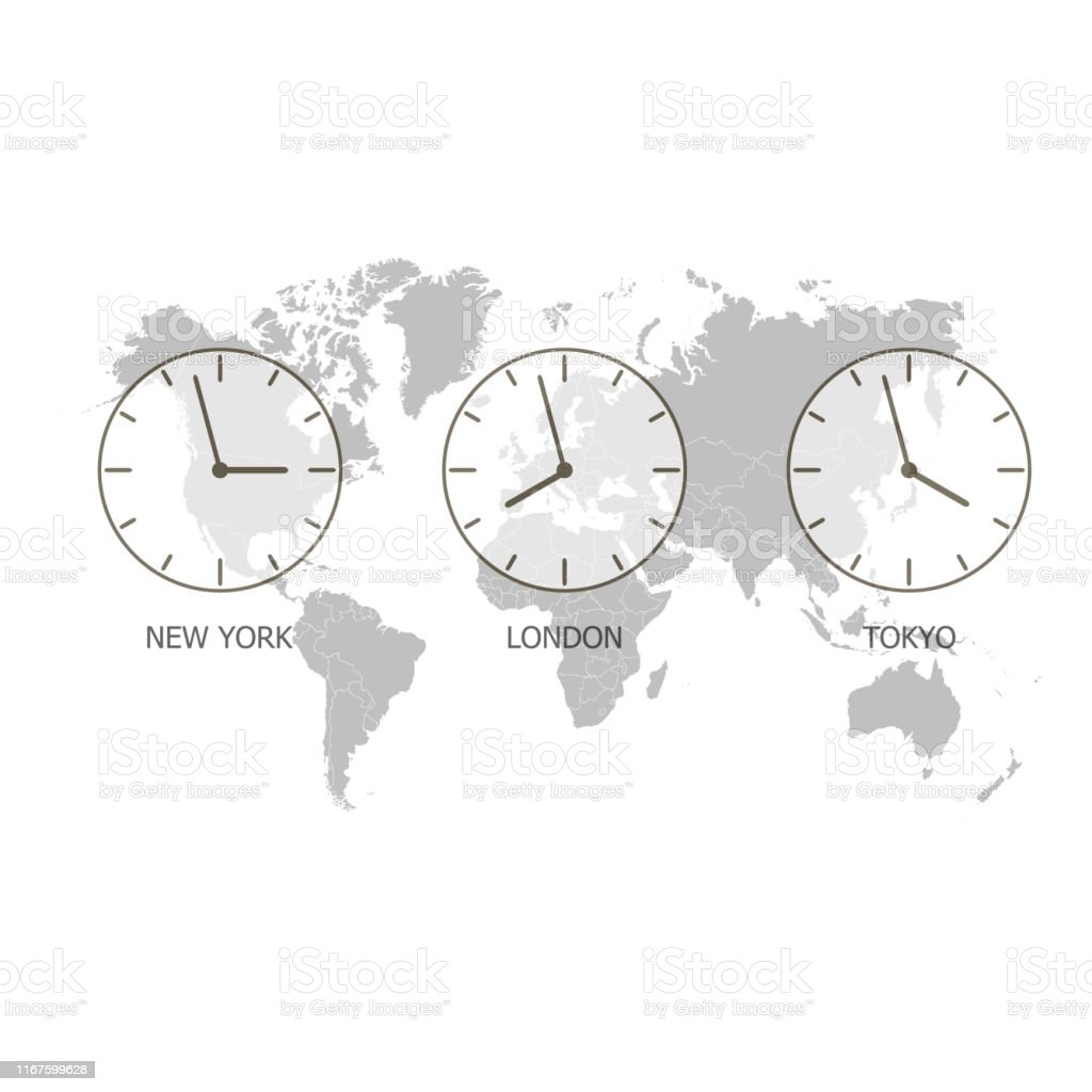 Set Of Clock World Time On A World Map Timezone Clock Vector ...