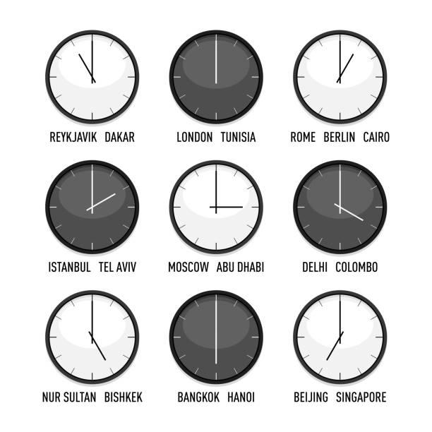 ilustrações de stock, clip art, desenhos animados e ícones de set of clocks for timezone hour vector icon set - berlin wall
