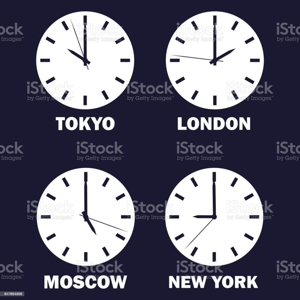 Satz Von Uhren Zeigen Die Zeitdifferenz In Unterschiedlichen ...