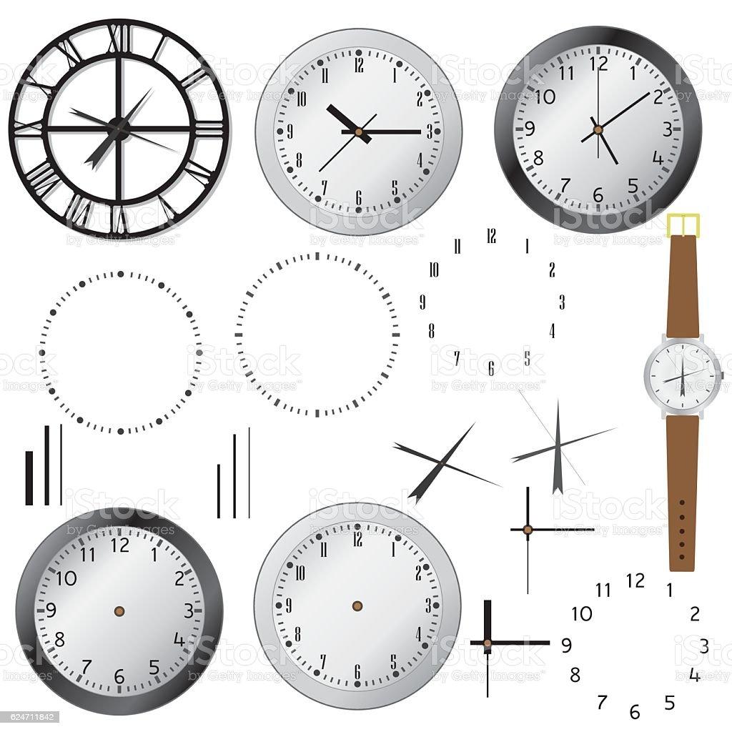 Set of clocks. vector art illustration