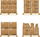 Set of closed brown carton delivery boxes