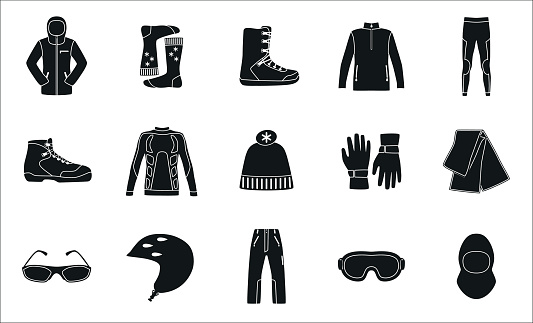 Set of cloth and shoes for winter sport