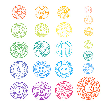 Set Of Cloth Buttons In Different Designs In Boho Style With Ornament Stock Illustration Download Image Now Istock
