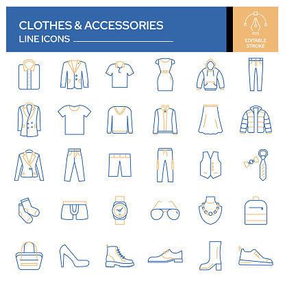 Set of Clothes and Accessories Related Line Icons. Outline Symbol Collection, Editable Stroke