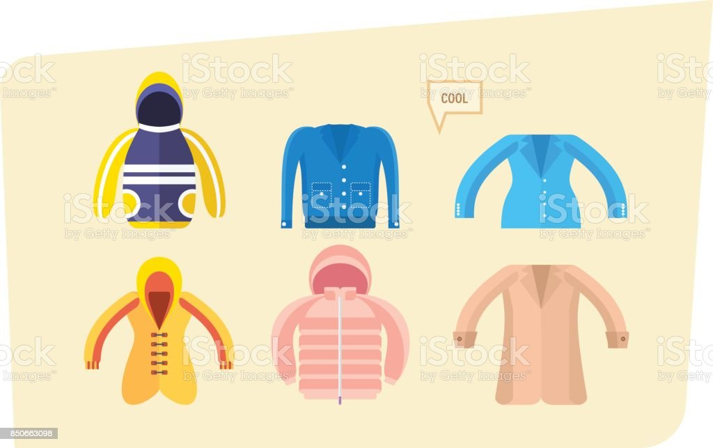 Set of clothes for boys and girls in different weather vector art illustration
