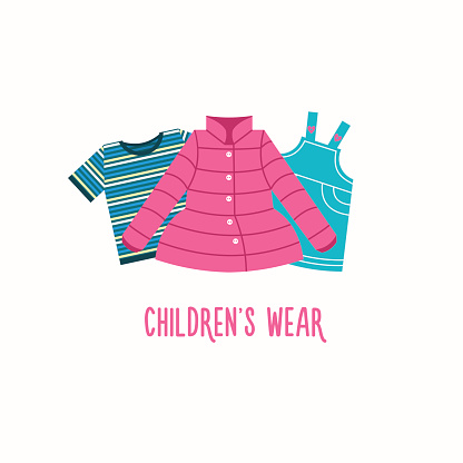 Set of clothes for children. Vector illustration. Isolated on a white background.