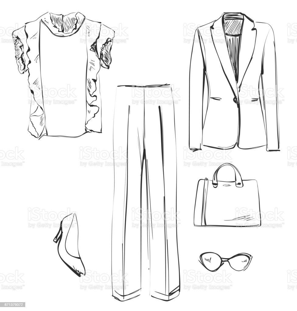 Set Of Clothes For Women Shirt Jacket Pants Handbag Shoes And