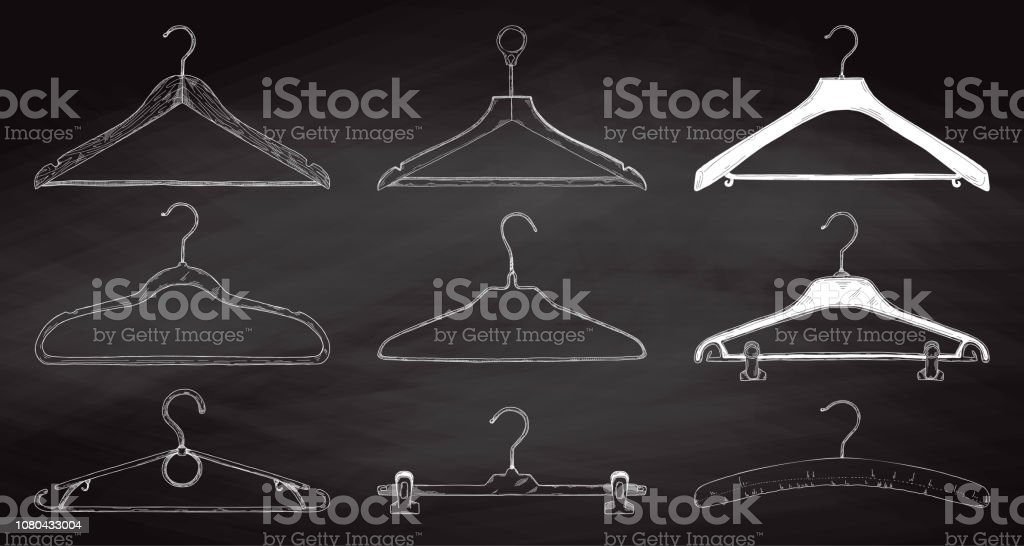 Set of clothes hangers on a chalkboard. Vector. vector art illustration