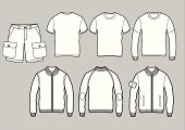 vector outlines of casual clothes, t-shirts, longsleeve, shorts, sweatshirts, front,back view