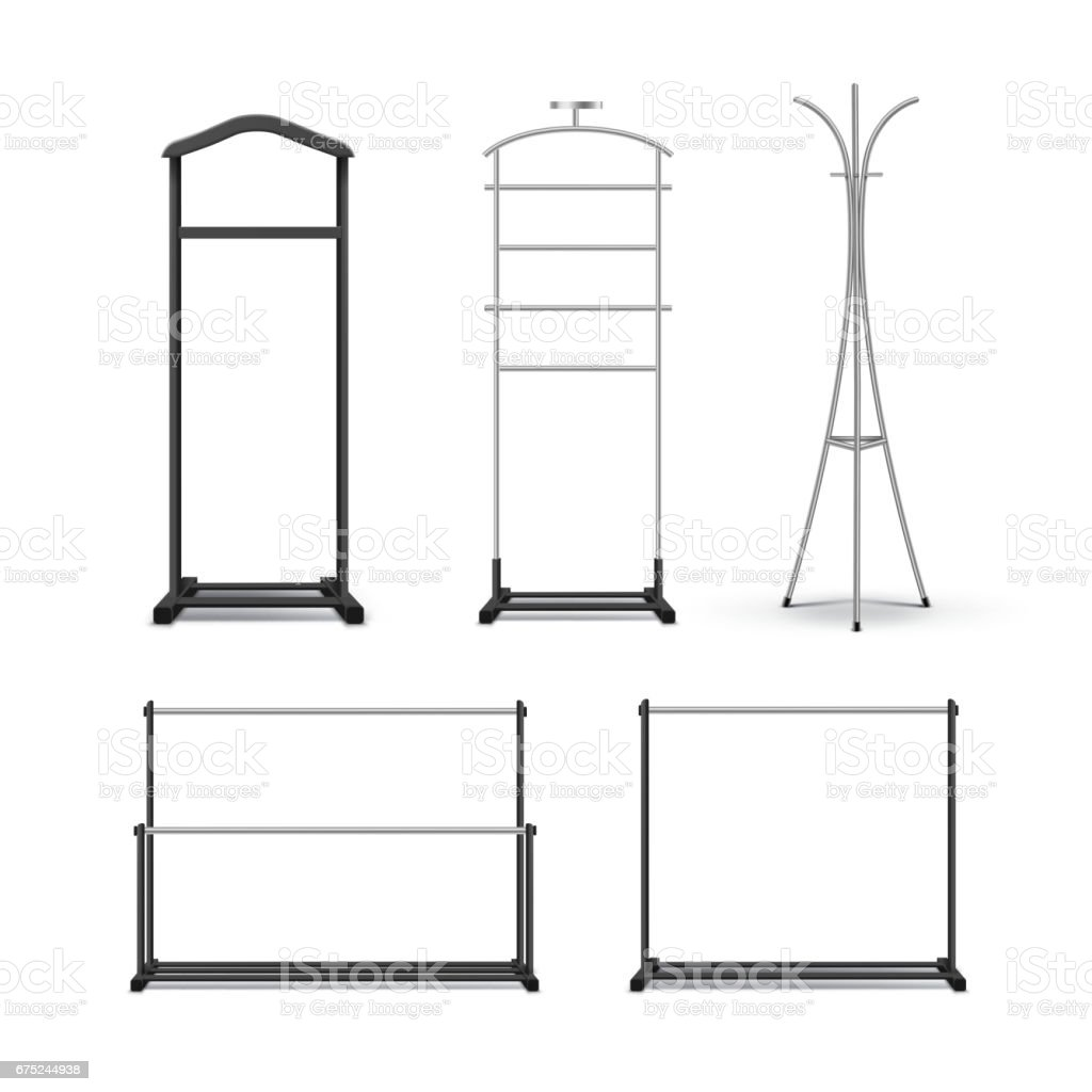 Set of clothes racks vector art illustration