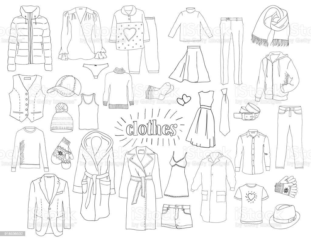 Un conjunto de ropa. Bosquejo. - ilustración de arte vectorial