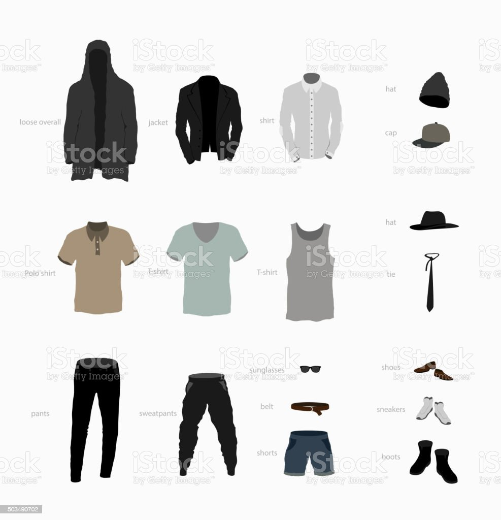 set of clothes top, bottom, shoes and accessories vector art illustration