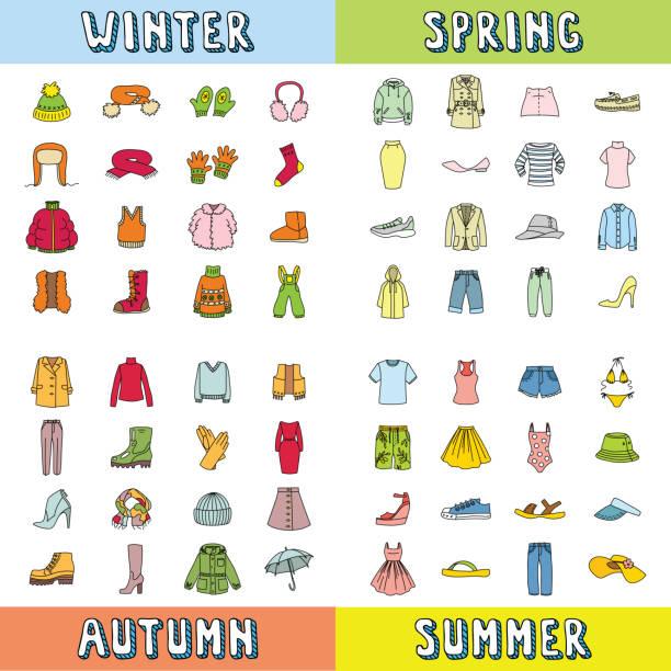服アイコンのセット - 秋のファッション点のイラスト素材/クリップアート素材/マンガ素材/アイコン素材