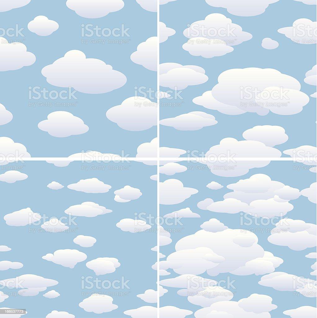 Set of Cloud Backgrounds vector art illustration