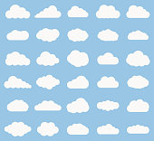 Set of Cloud  icon white color on blue background