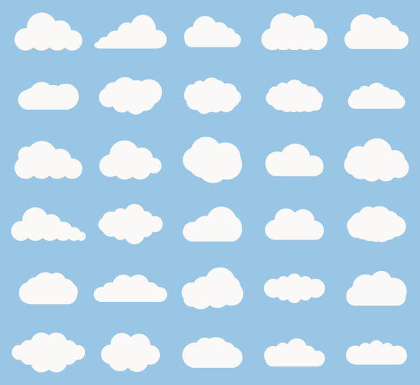 set of cloud  icon white color on blue background - clouds stock illustrations