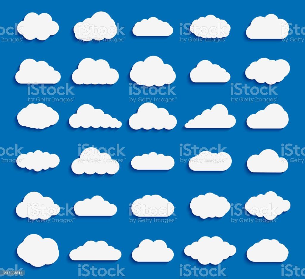 青の背景に雲のアイコン ホワイト カラーのセット ベクターアートイラスト