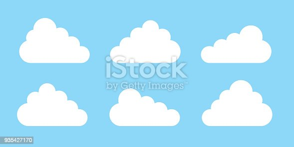 Set Of Cloud Icons Or Symbol In Flat Design Isolated On Blue