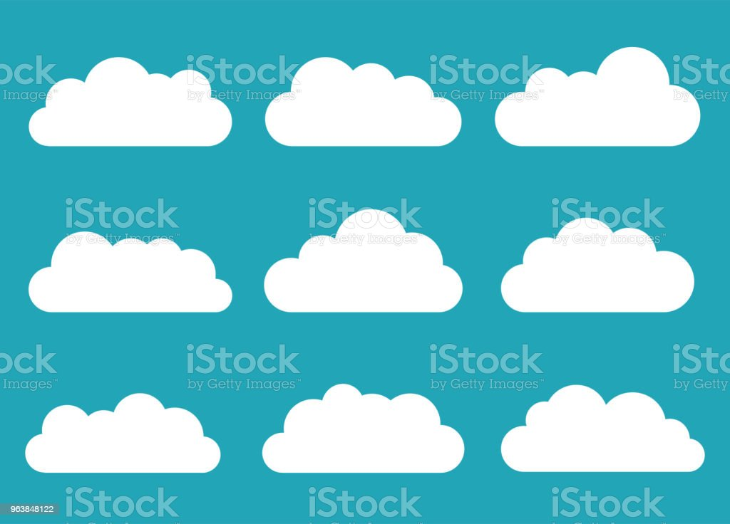 Set of clouds. Cloud icon. Vector illustration. - Royalty-free Abstract stock vector