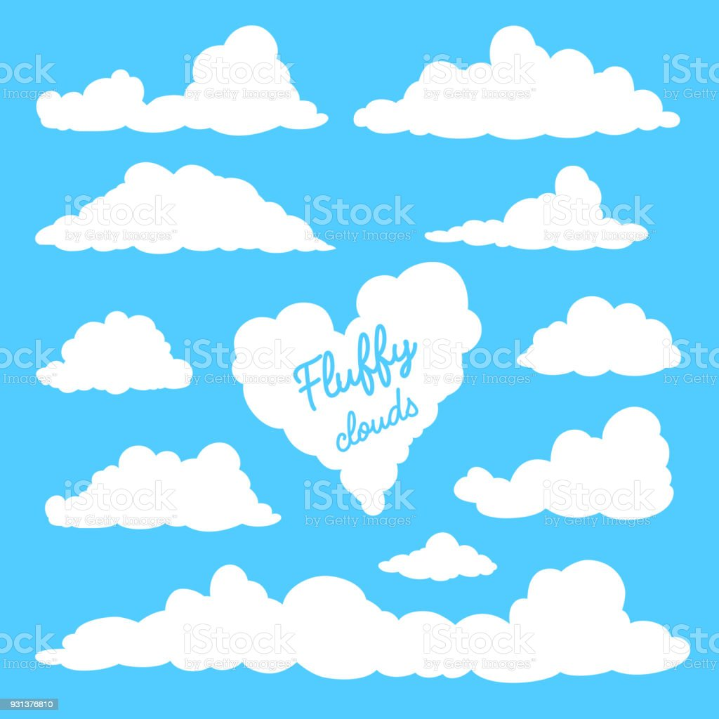 Set of clouds isolated on blue background. vector art illustration