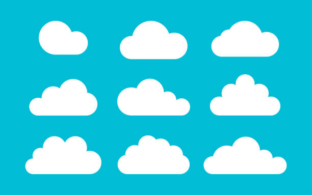 set of clouds on a blue background in flat style, vector set of clouds on a blue background in flat style, vector illustration clouds stock illustrations