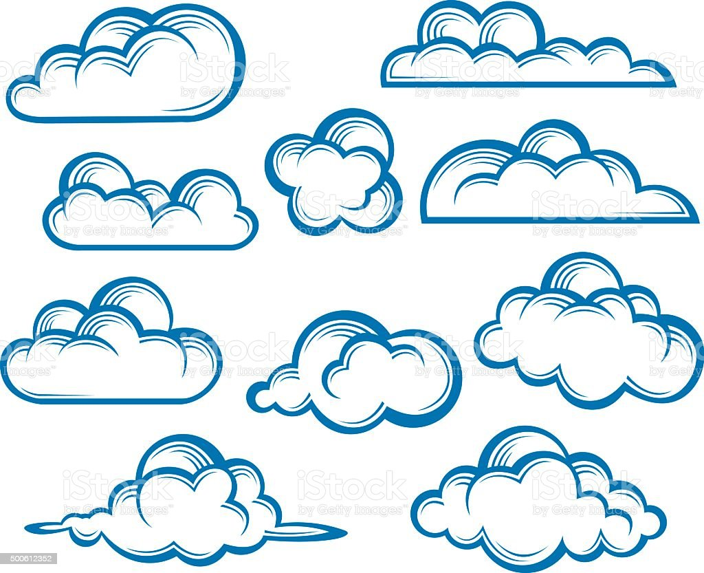 set of clouds vector art illustration
