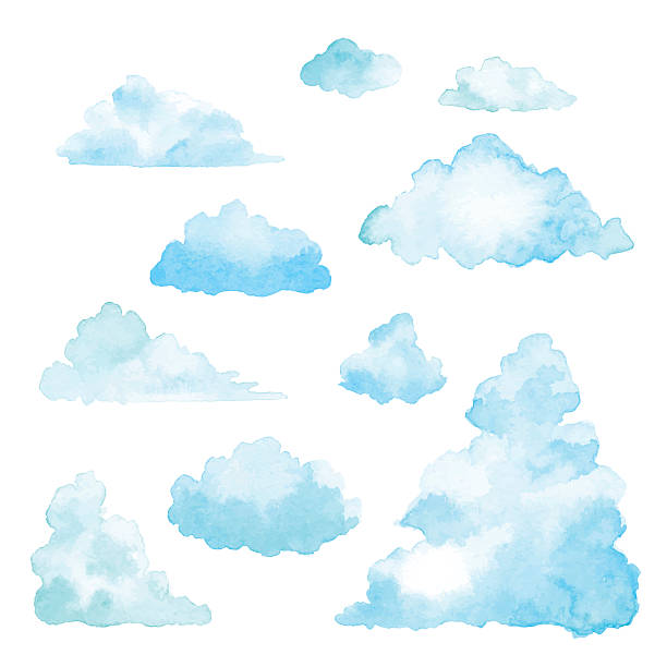 zestaw chmury akwarela - chmura stock illustrations