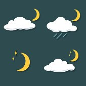 Set of clouds with rain, moon, stars at night.