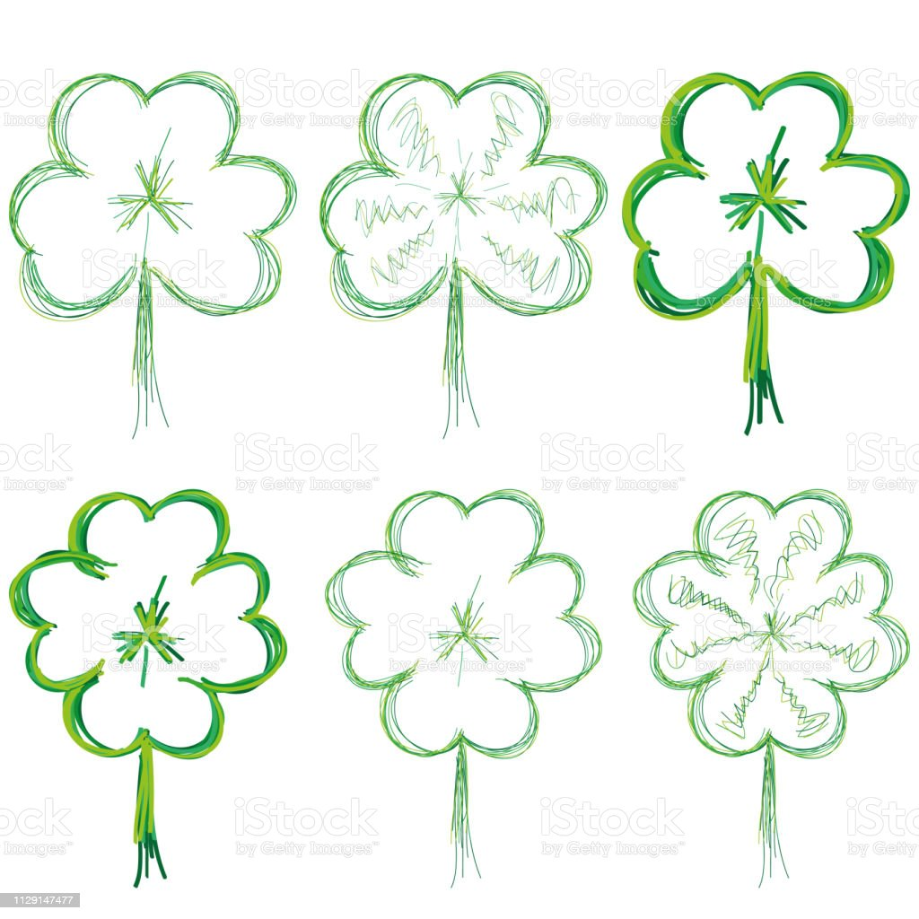 Set of clover leaves for St. Patrick Day, part 2