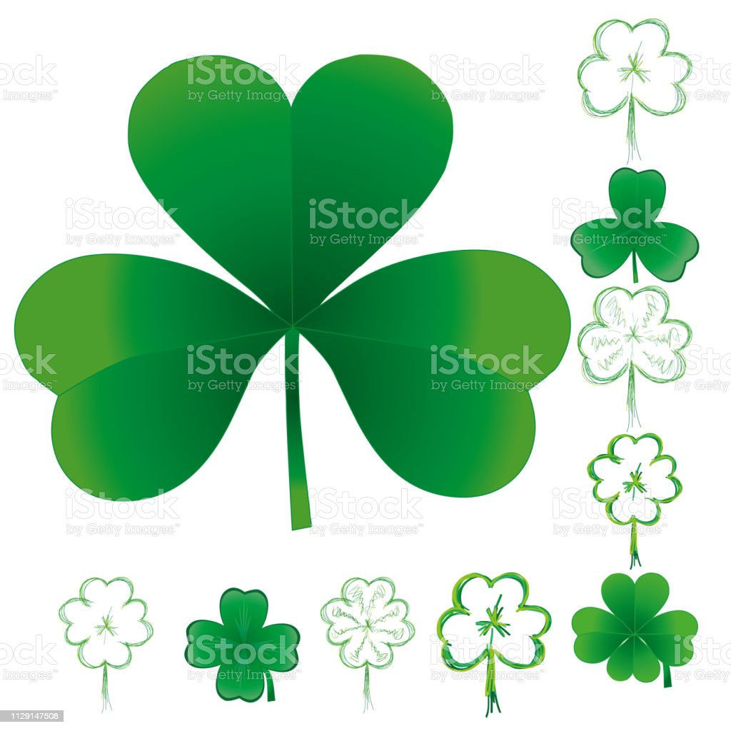 Set of clover leaves for St. Patrick Day, part 3