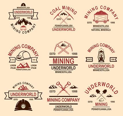 Set of coal mining company emblem templates. Design element for label, emblem, sign, badge. Vector illustration