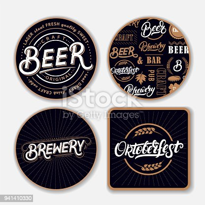 Set of coasters for beer with hand written lettering words. Bierdeckel, beermat for bar, pub, beerhouse. Round, square stand. Beer, brewery, oktoberfest hand written lettering. Vintage style. Vector