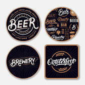 Bucharest, Romania  - October 20, 2015: background made with different beer coasters background with text in Deutsch 'Kein Bier fur vier'