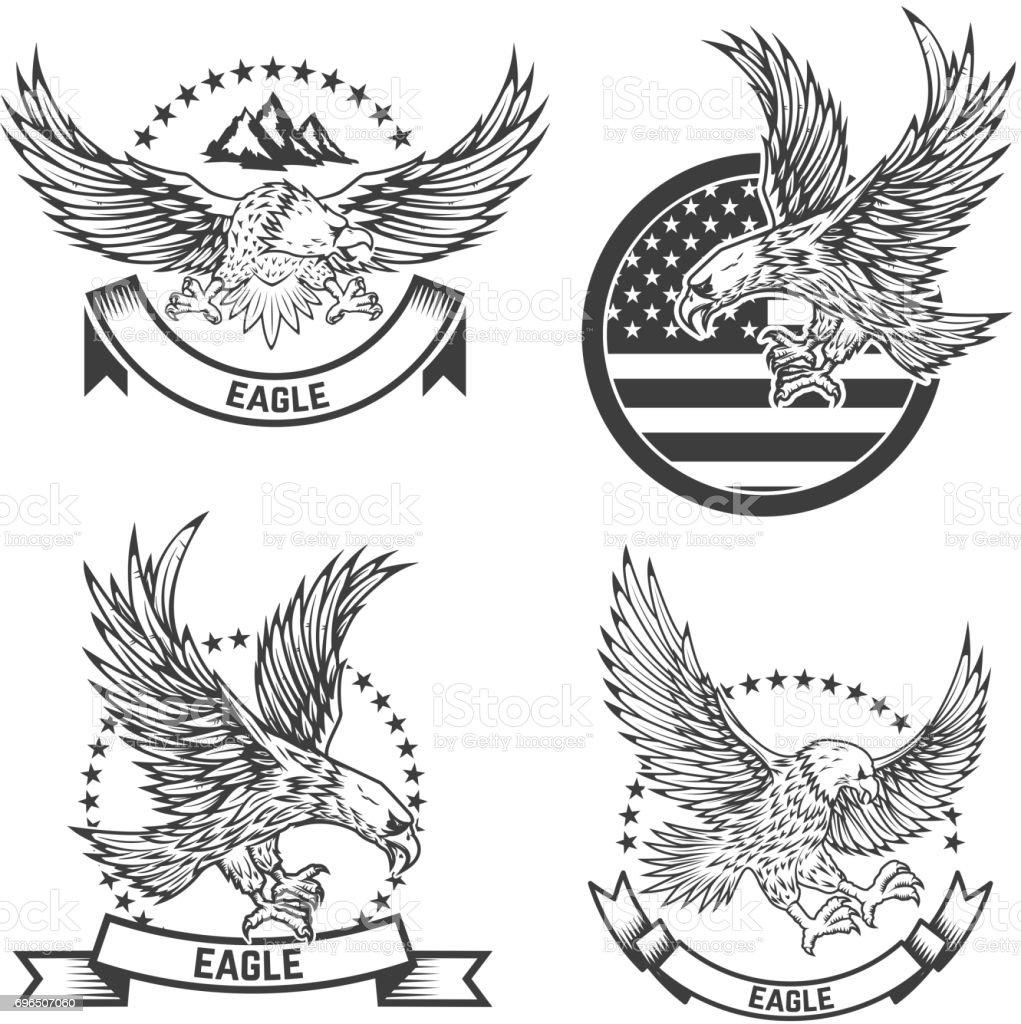 Conjunto de capa de los brazos con las águilas. Elementos de diseño para la etiqueta, emblema, signo. Ilustración de vector - ilustración de arte vectorial