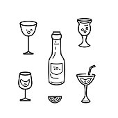Set of cocktail and wine glasses and bottle. Line style vector illustration.