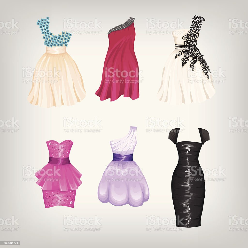 Set of cocktail dresses vector art illustration