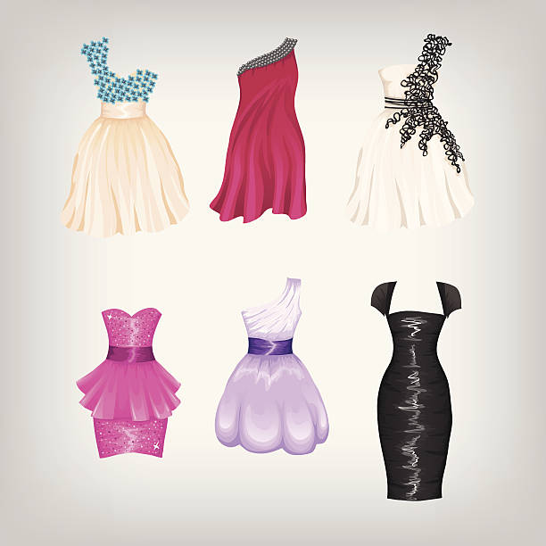 set of cocktail dresses - prom fashion stock illustrations, clip art, cartoons, & icons