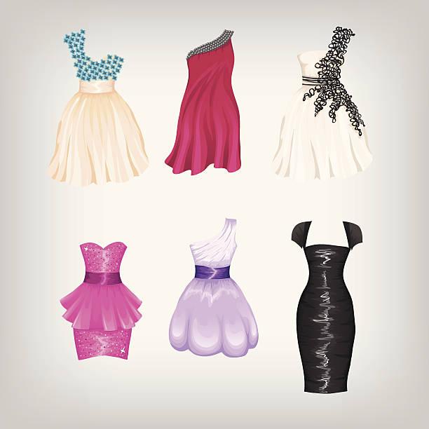 Set of cocktail dresses vector art illustration