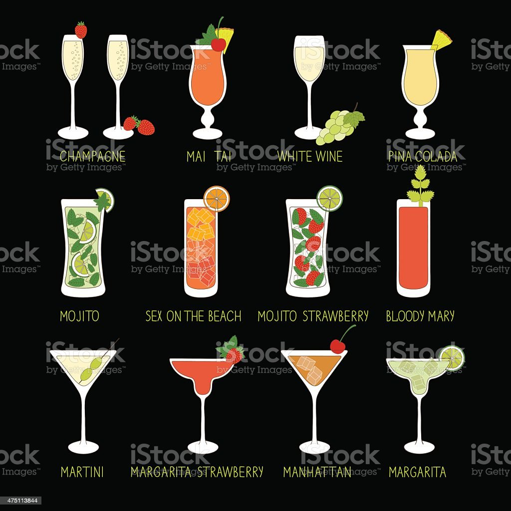 Set of Cocktails and Alcohol Drinks in black background. vector art illustration