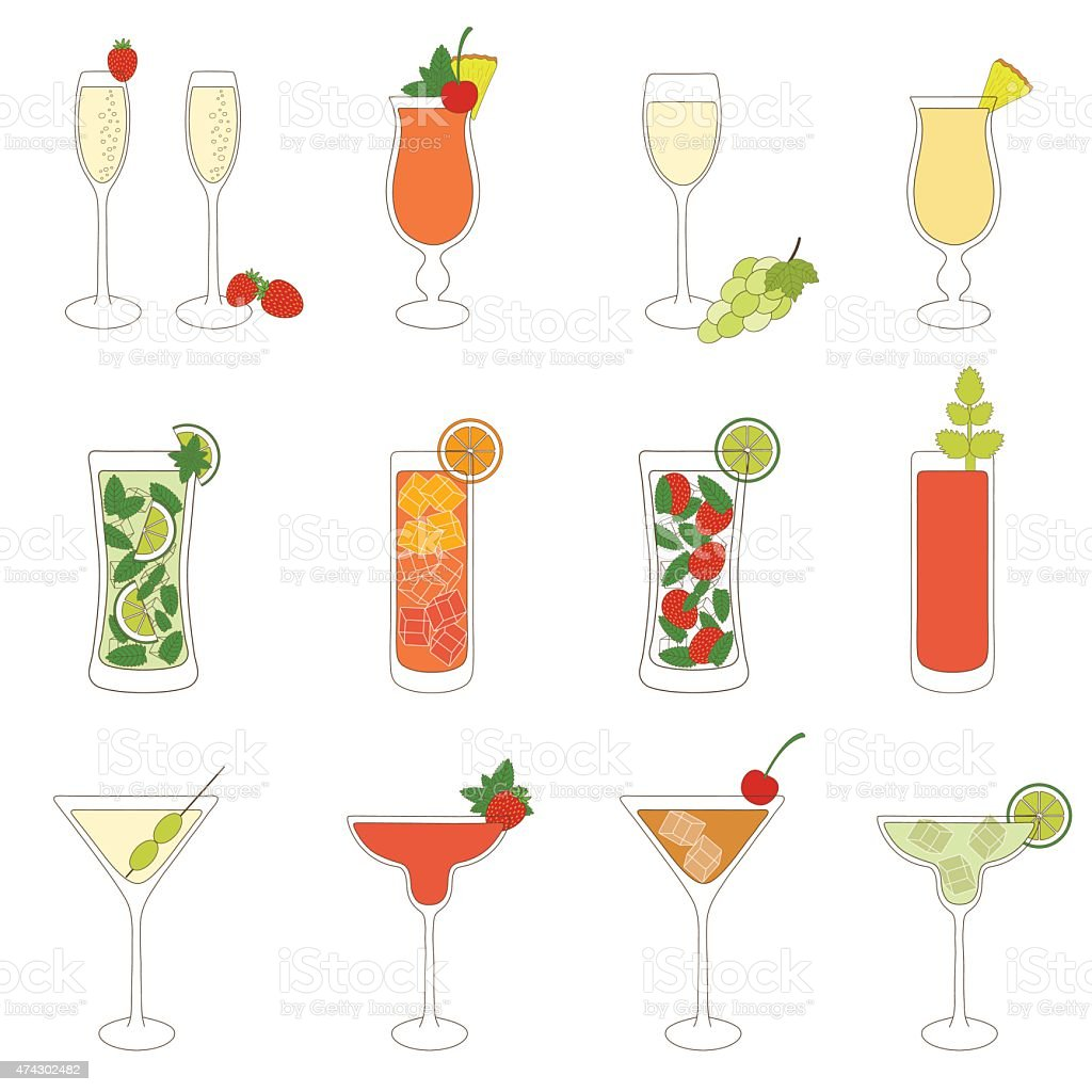 Set of Cocktails and Alcohol Drinks vector art illustration