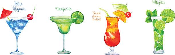 Set of  Cocktails: Blue Lagoon, Margarita ,Tequila Sunrise, Mojito Watercolor Vector Illustration on the White Background.  margarita stock illustrations