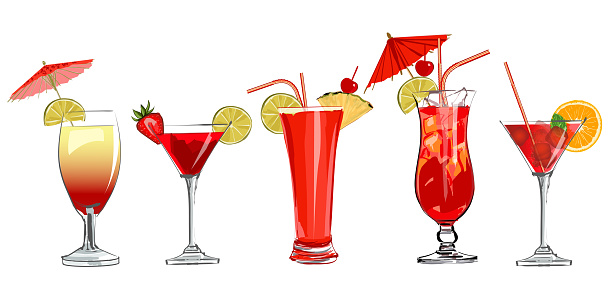 Set of cocktails in watercolor style