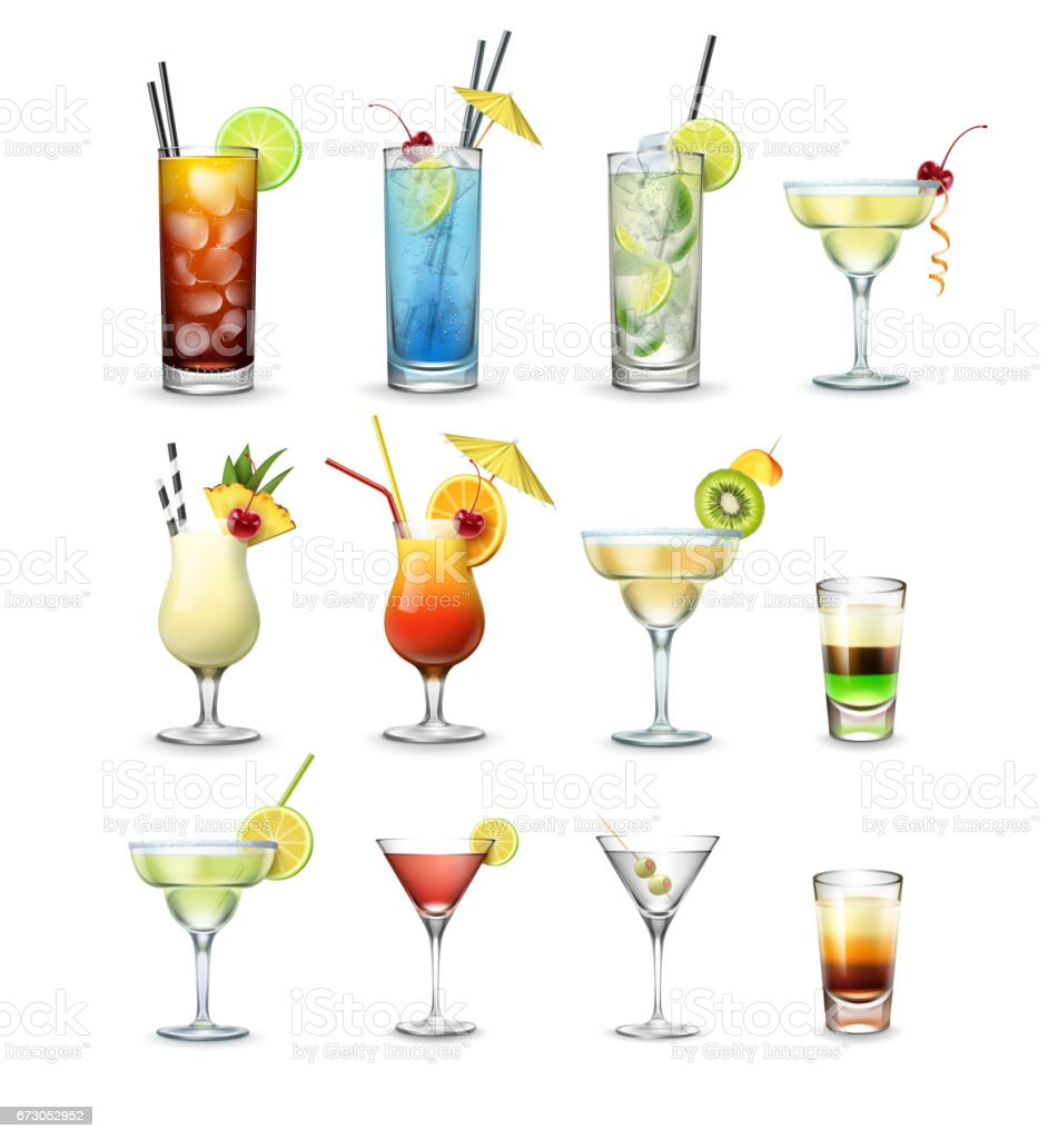 Set of cocktails vector art illustration