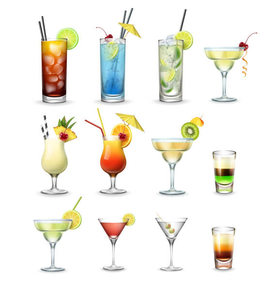 set of cocktails - alcohol drink silhouettes stock illustrations