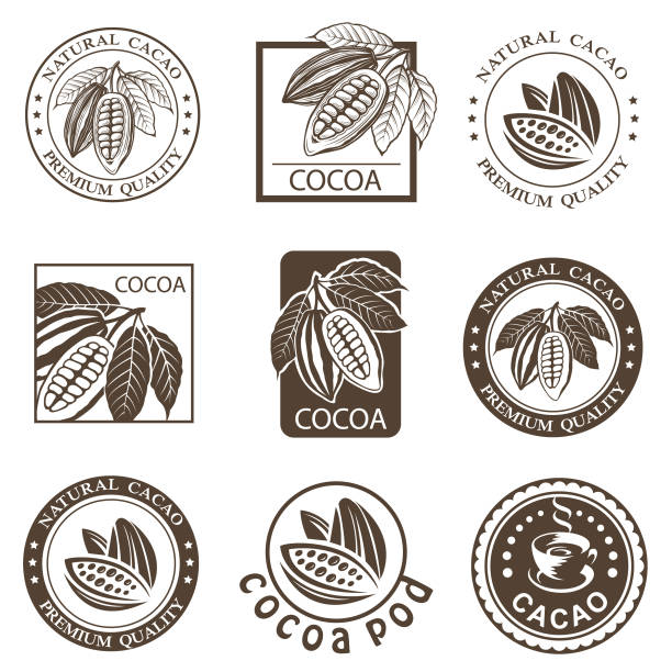 set of cocoa labels - plant pod stock illustrations