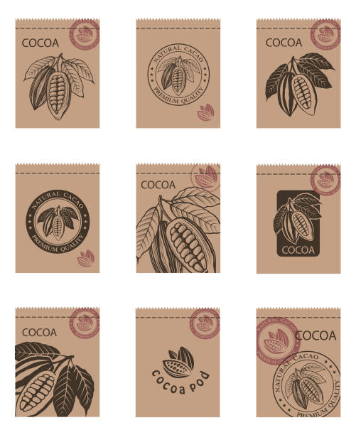 set of cocoa packages - plant pod stock illustrations