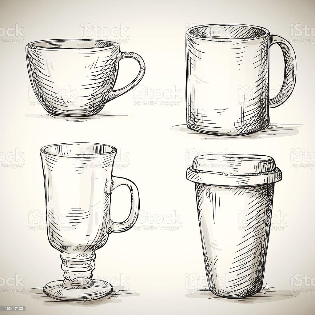 set of coffe mugs vector art illustration