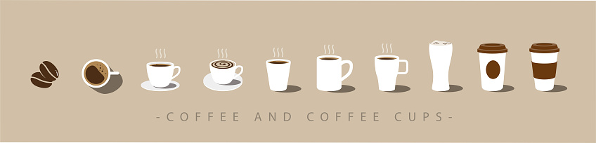 Set of Coffee and coffee cup icons. vector clipart